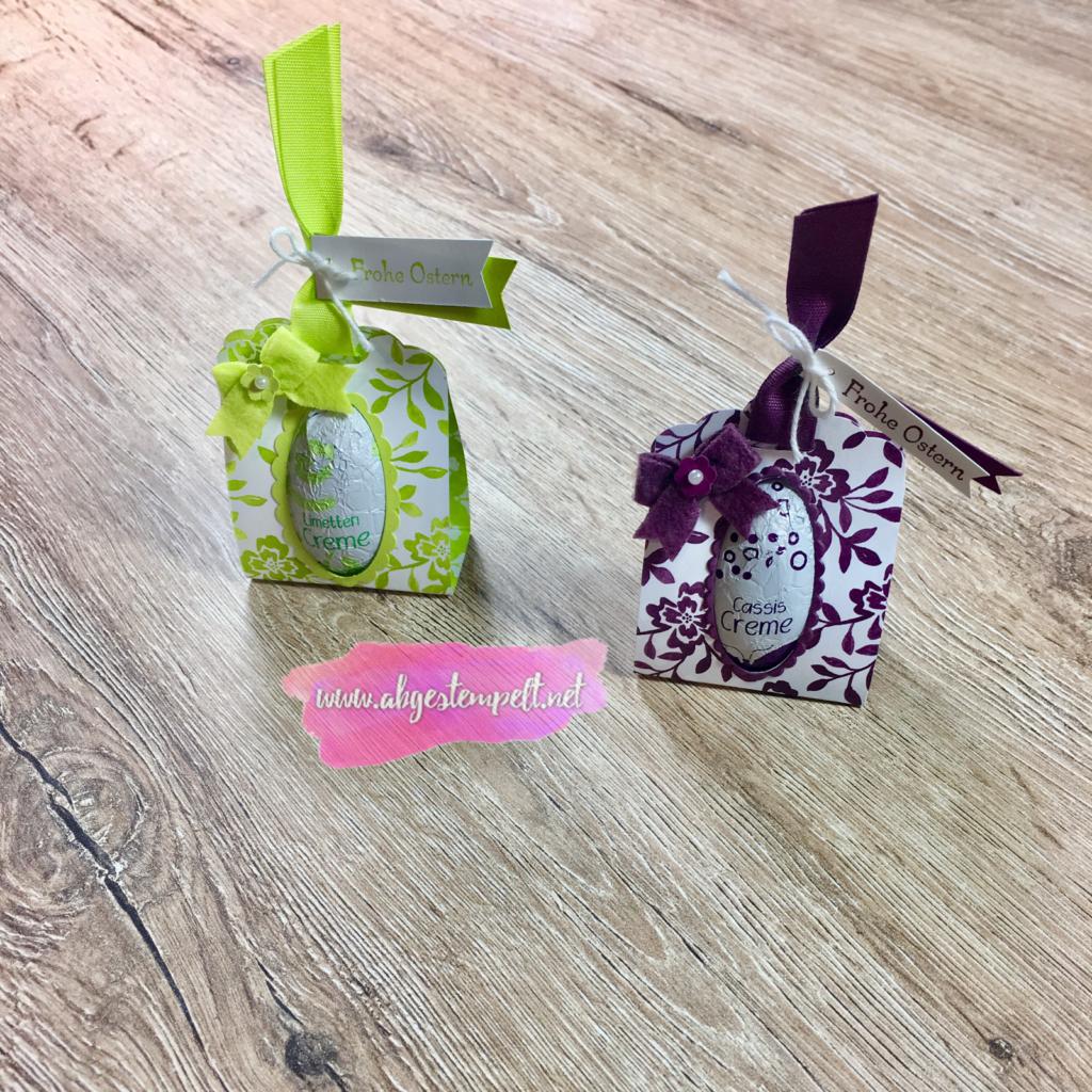 Ostern 2018 Verpackung Schoko Ei Limette Feige gewellter Anhänger abgestempelt Stampin' Up!