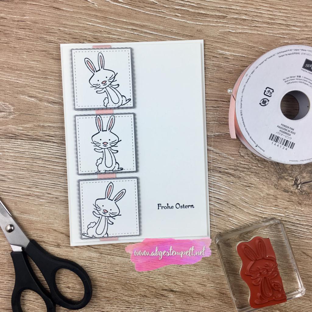 Ostern 2018 gebastelte Karte in weiß, grau und schwarz mit Band in Puderrosa Hase schlicht lustig abgestempelt Stampin' Up!
