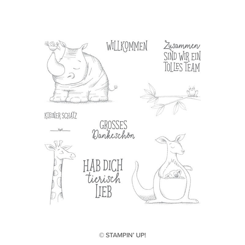 Stempelset Wild auf Grüße - 147573, 10 Gummistempel