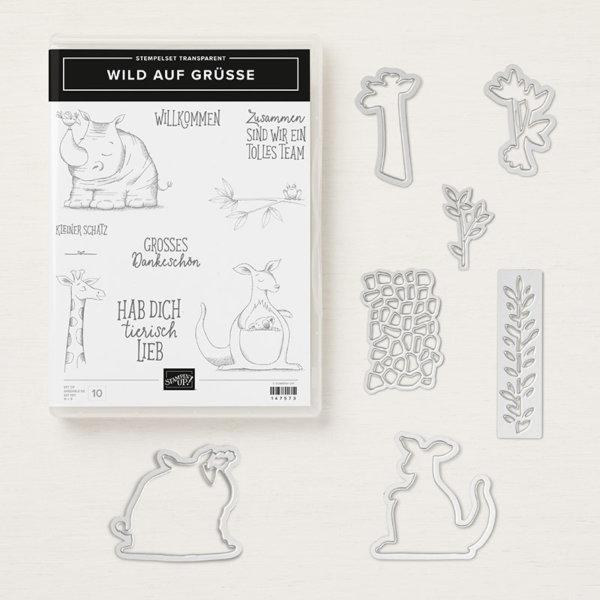Produktpaket Wild auf Grüße - 148326, Stempelset Wild auf Grüße + Thinlits Formen Tierisch gute Freunde