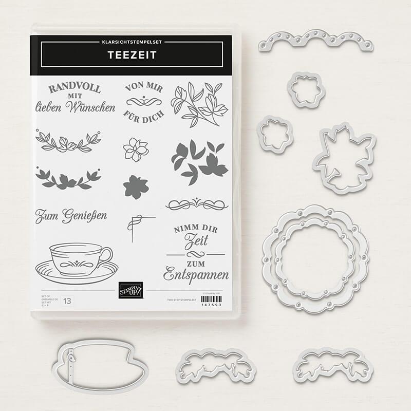 Produktpaket Teezeit - 148412 - Stempelset Teezeit und Framelits Formen Teestube zum 10 % Sparpreis