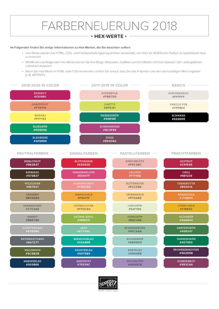 Stampin' Up Farberneuerung Farbtabeln mit HEX Werten Gratis Download als PDF Vorschau