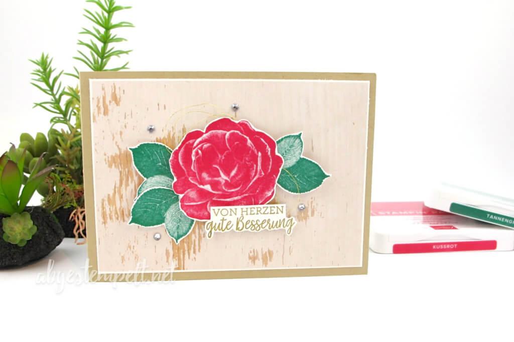 Karte Holzoptik Genesung Gute Besserung Rose abgestempelt