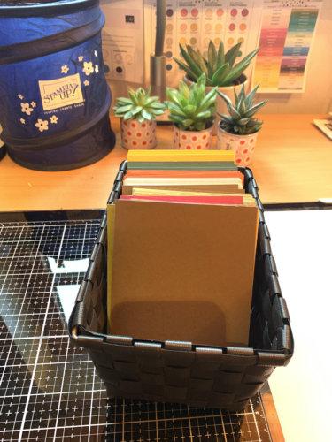 Bastelzimmer organisation Papieraufbewahrung Kartenrohlinge