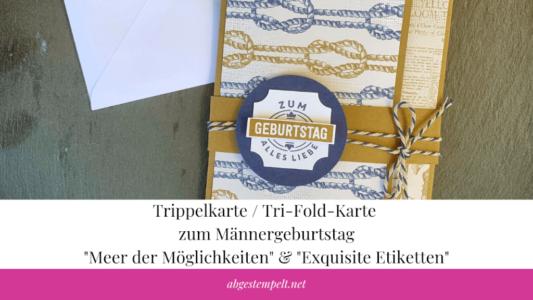 Blogvorschaubild Trippelkarte : Tri-Fold-Karte zum Männergeburtstag Meer der Möglichkeiten & Exquisite Etiketten