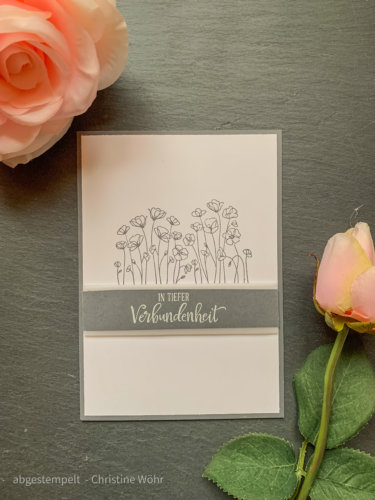 Stampin' Up! Trauerkarte basteln Painted Poppies Schiefergrau