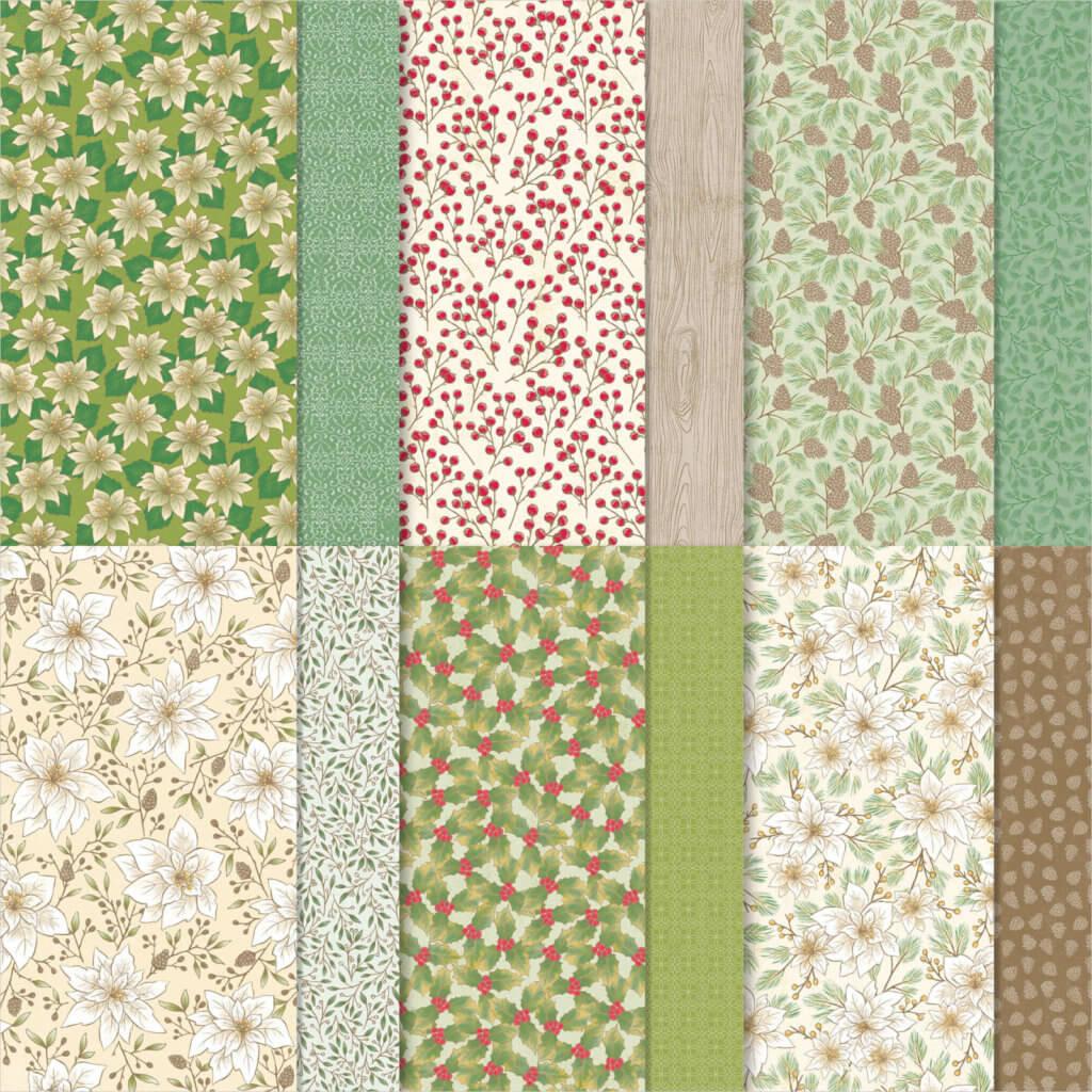 Designerpapier Weihnachtsblüten - 153487