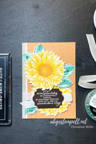 spätsommerliche Karte mit großen Sonnenblumen Hochformat abgestempelt.net