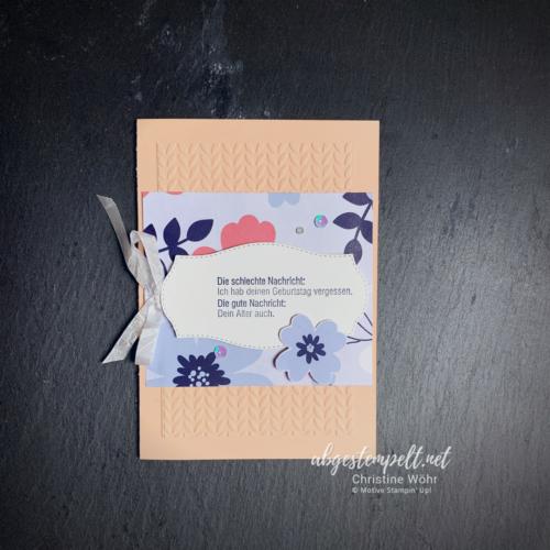 Karte 3 Designerpapier Papierblüten so gut wie perfekt voll