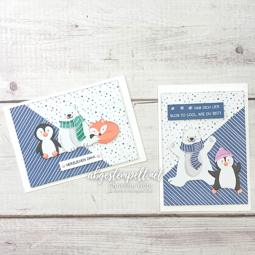 Projekte Weihnachten Karten Pinguin Party Stampin Up 1
