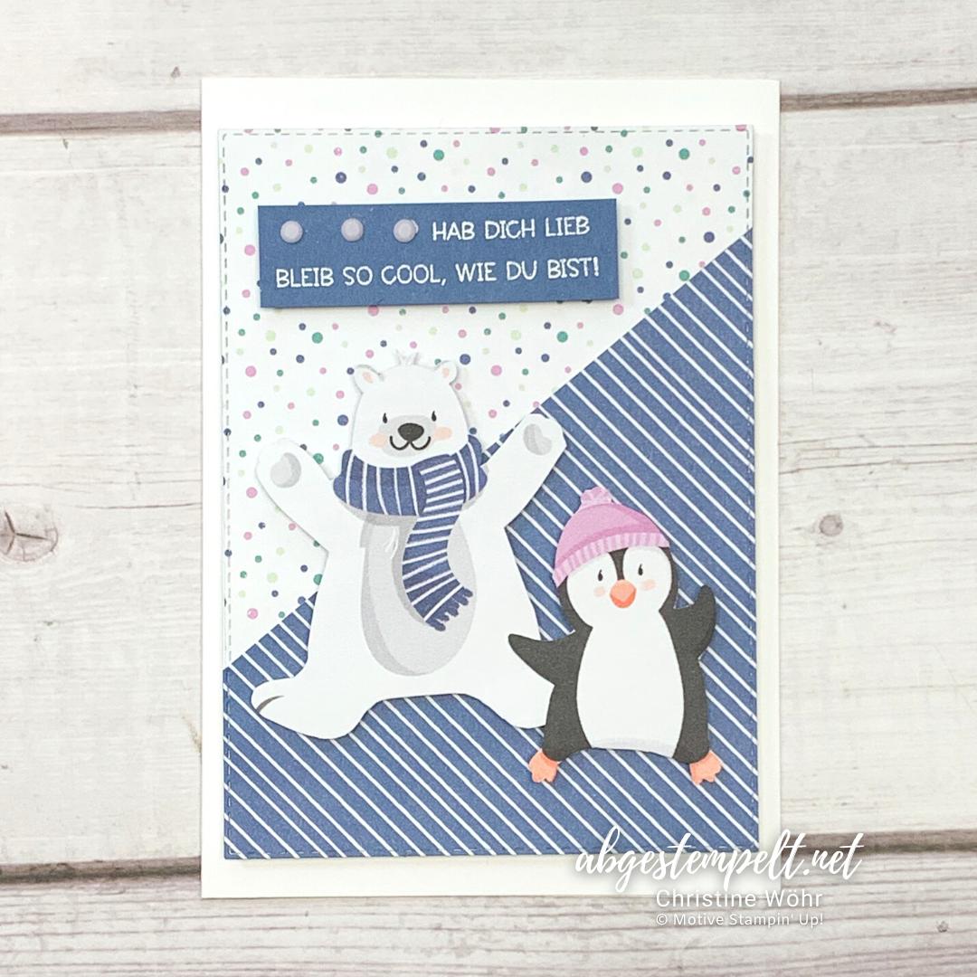 Projekte Weihnachten Karten Pinguin Party Stampin Up 2