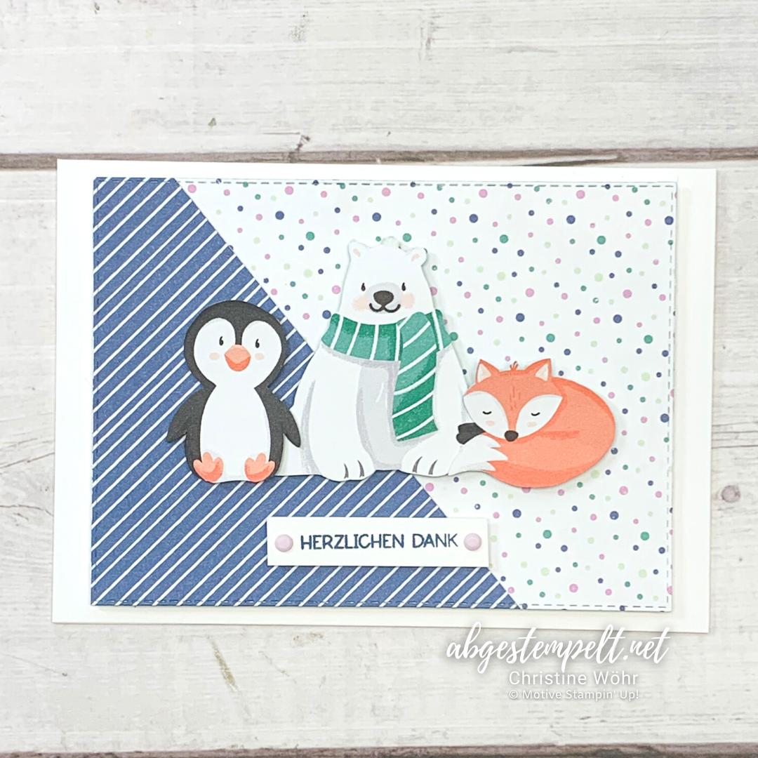 Projekte Weihnachten Karten Pinguin Party Stampin Up 4