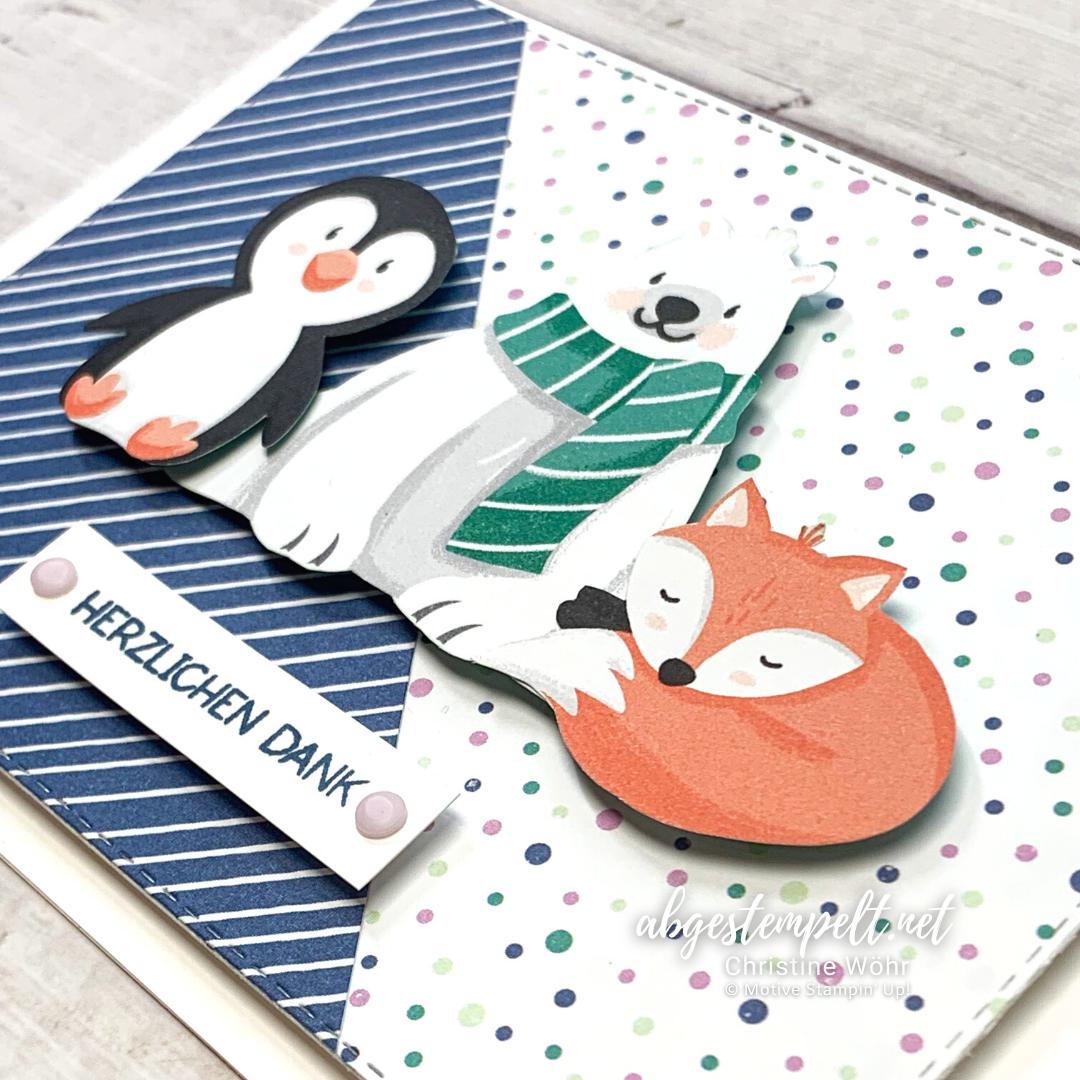 Projekte Weihnachten Karten Pinguin Party Stampin Up 5