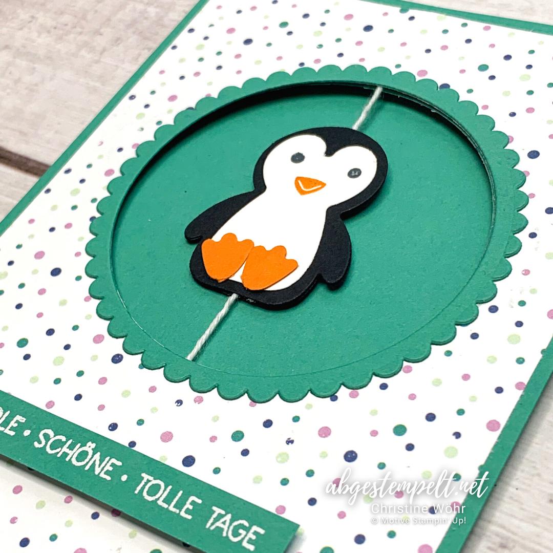 Spinner Karte Pinguin Party Stampin Up 2 nah