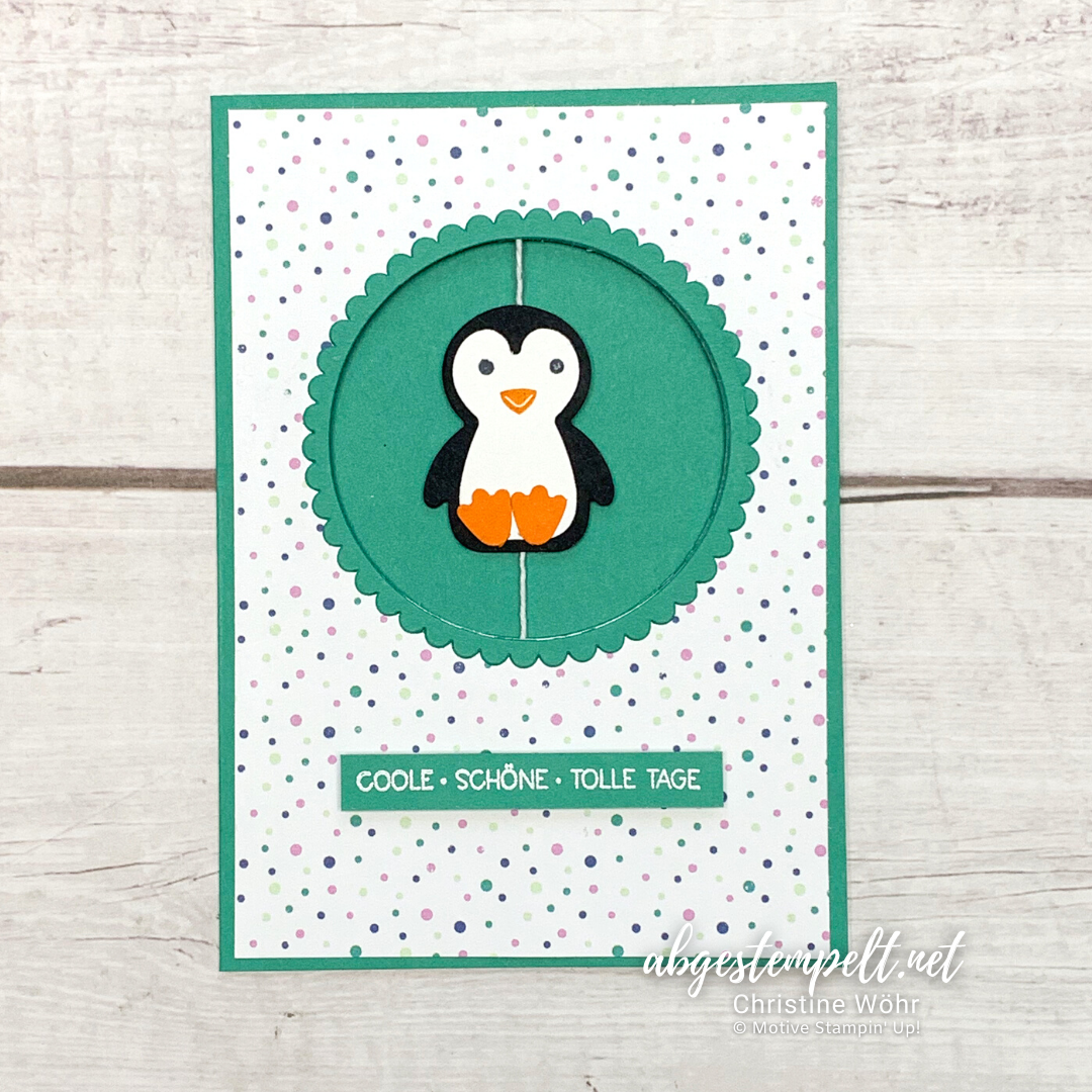 Spinner Karte Pinguin Party Stampin Up voll